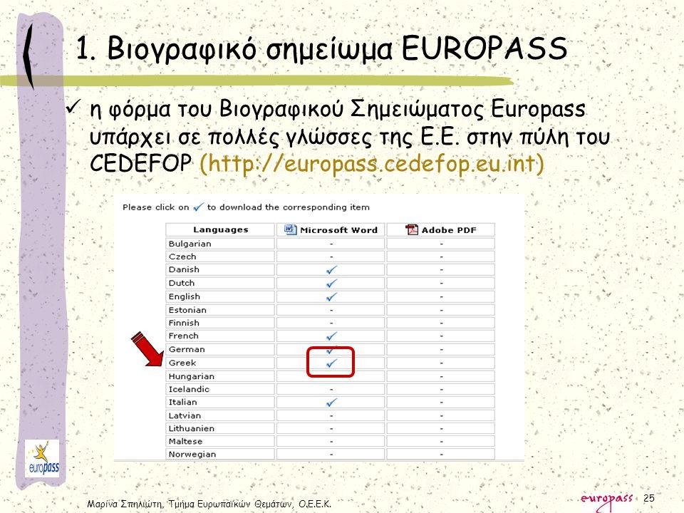 Μαρίνα Σπηλιώτη, Τμήμα Ευρωπαϊκών Θεμάτων, Ο.Ε.Ε.Κ. 25 η φόρμα του Βιογραφικού Σημειώματος Europass υπάρχει σε πολλές γλώσσες της Ε.Ε. στην πύλη του C