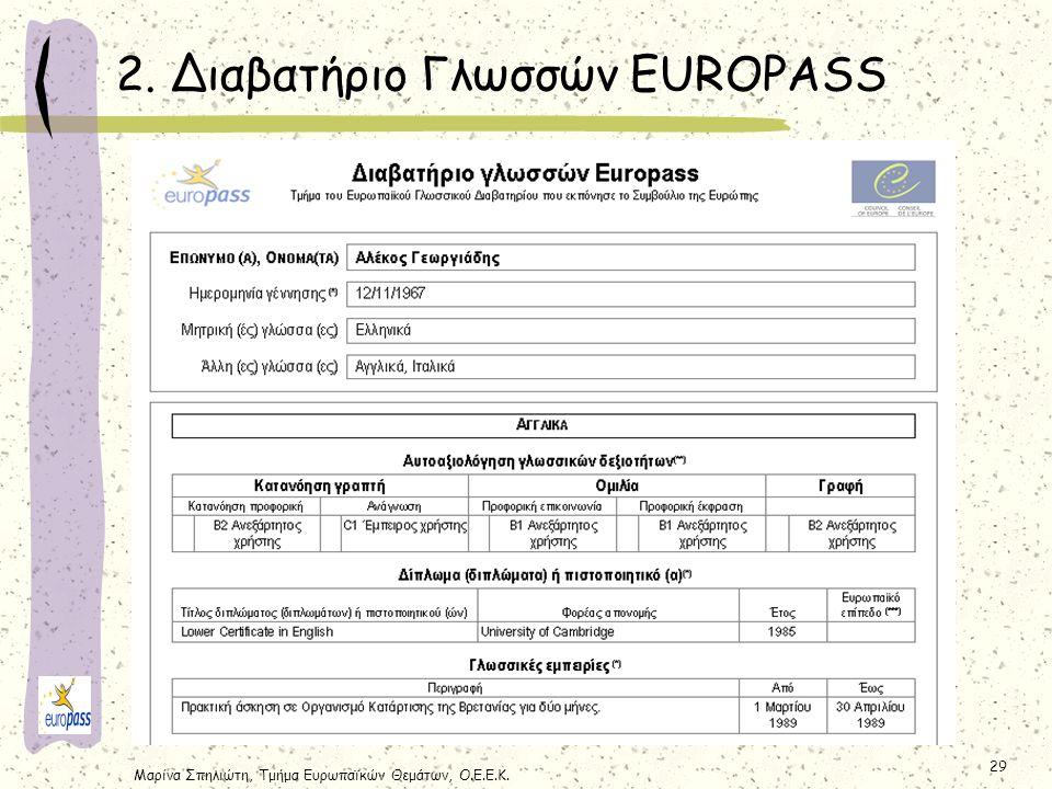 Μαρίνα Σπηλιώτη, Τμήμα Ευρωπαϊκών Θεμάτων, Ο.Ε.Ε.Κ. 29 2. Διαβατήριο Γλωσσών EUROPASS
