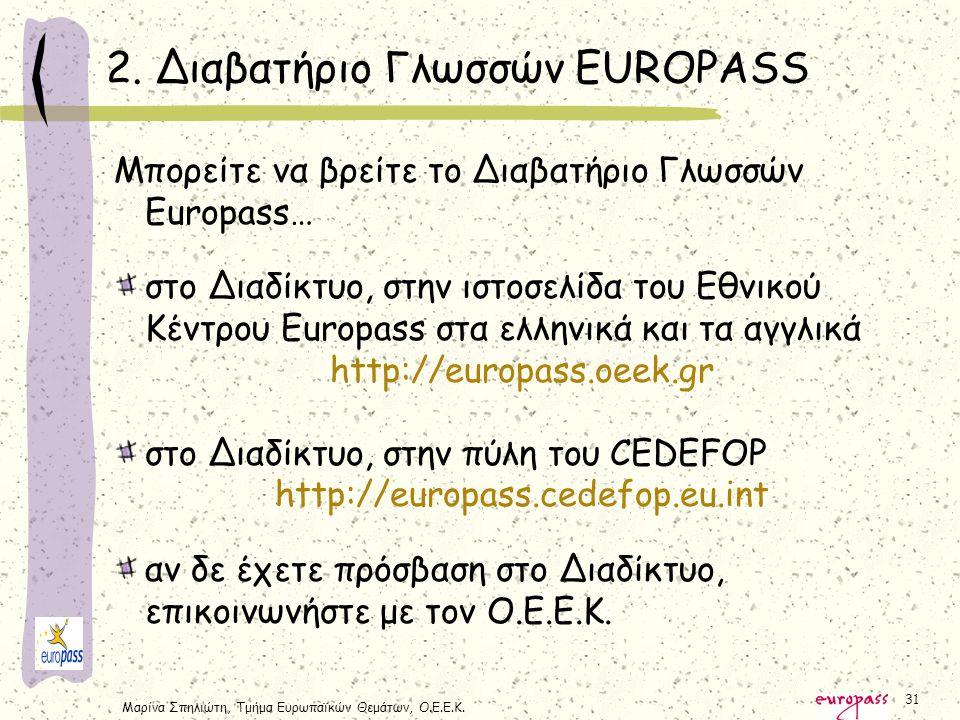 Μαρίνα Σπηλιώτη, Τμήμα Ευρωπαϊκών Θεμάτων, Ο.Ε.Ε.Κ. 31 2. Διαβατήριο Γλωσσών EUROPASS Μπορείτε να βρείτε το Διαβατήριο Γλωσσών Europass… στο Διαδίκτυο