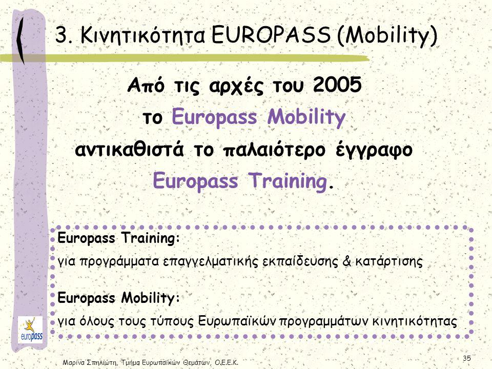 Μαρίνα Σπηλιώτη, Τμήμα Ευρωπαϊκών Θεμάτων, Ο.Ε.Ε.Κ. 35 Από τις αρχές του 2005 τo Europass Mobility αντικαθιστά το παλαιότερο έγγραφο Europass Training