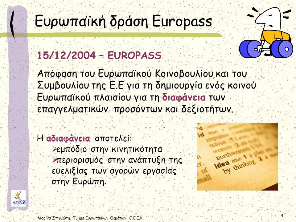 Μαρίνα Σπηλιώτη, Τμήμα Ευρωπαϊκών Θεμάτων, Ο.Ε.Ε.Κ. 4 15/12/2004 – EUROPASS Απόφαση του Ευρωπαϊκού Κοινοβουλίου και του Συμβουλίου της Ε.Ε για τη δημι