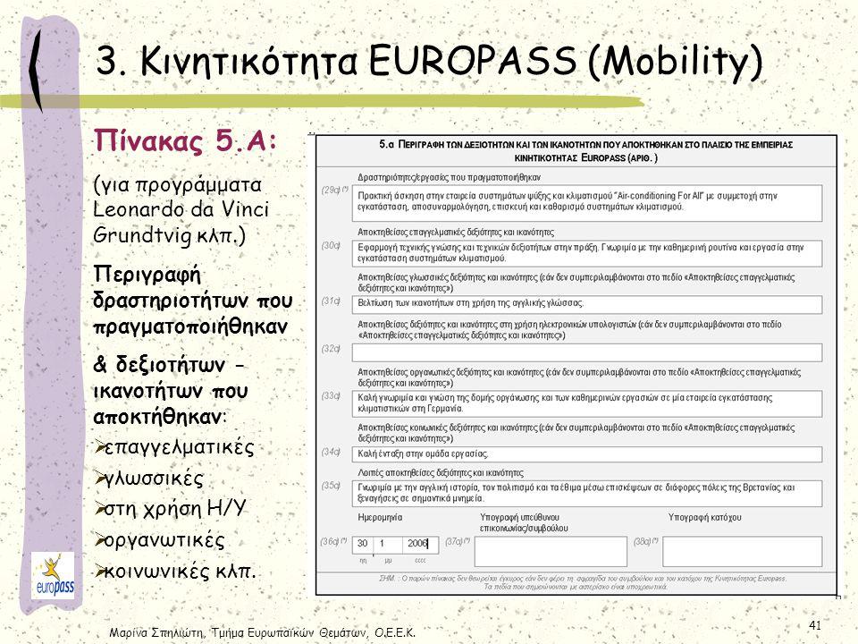 Μαρίνα Σπηλιώτη, Τμήμα Ευρωπαϊκών Θεμάτων, Ο.Ε.Ε.Κ. 41 3. Κινητικότητα EUROPASS (Mobility) Πίνακας 5.Α: (για προγράμματα Leonardo da Vinci Grundtvig κ