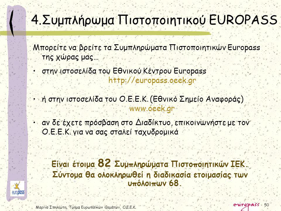 Μαρίνα Σπηλιώτη, Τμήμα Ευρωπαϊκών Θεμάτων, Ο.Ε.Ε.Κ. 50 4.Συμπλήρωμα Πιστοποιητικού EUROPASS Μπορείτε να βρείτε τα Συμπληρώματα Πιστοποιητικών Europass