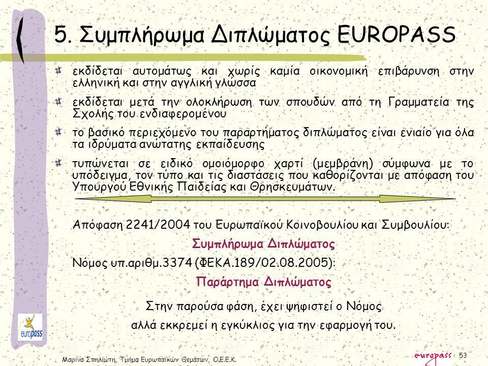 Μαρίνα Σπηλιώτη, Τμήμα Ευρωπαϊκών Θεμάτων, Ο.Ε.Ε.Κ. 53 εκδίδεται αυτομάτως και χωρίς καμία οικονομική επιβάρυνση στην ελληνική και στην αγγλική γλώσσα
