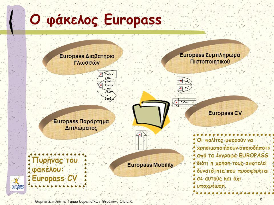 Μαρίνα Σπηλιώτη, Τμήμα Ευρωπαϊκών Θεμάτων, Ο.Ε.Ε.Κ. 8 Ο φάκελος Europass Europass Συμπλήρωμα Πιστοποιητικού Europass Διαβατήριο Γλωσσών Europass Παράρ