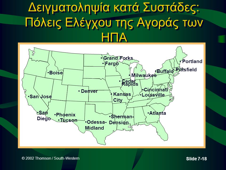 © 2002 Thomson / South-Western Slide 7-18 Δειγματοληψία κατά Συστάδες: Πόλεις Ελέγχου της Αγοράς των ΗΠΑ San Jose Boise Phoenix Denver Cedar Rapids Buffalo Louisville Atlanta Portland Milwaukee Kansas City San Diego Tucson Grand Forks Fargo Sherman- Dension Odessa- Midland Cincinnati Pittsfield