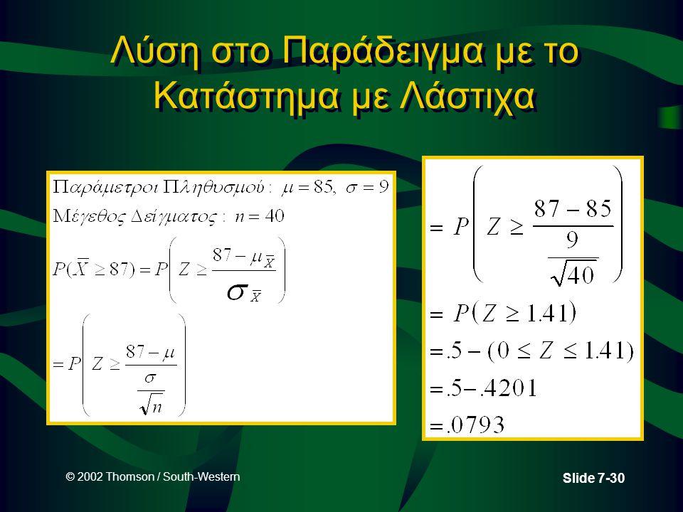 © 2002 Thomson / South-Western Slide 7-30 Λύση στο Παράδειγμα με το Κατάστημα με Λάστιχα