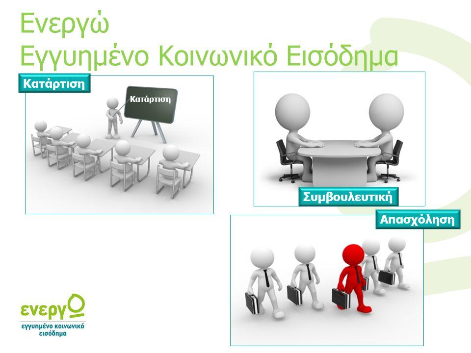 Ενεργώ Εγγυημένο Κοινωνικό Εισόδημα Κατάρτιση Συμβουλευτική Απασχόληση Κατάρτιση