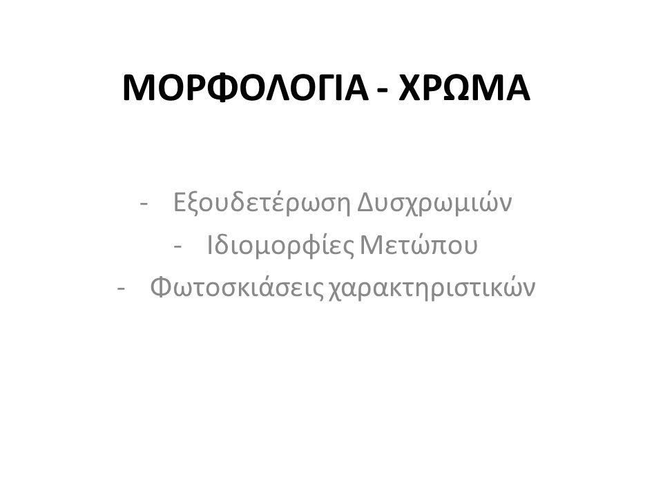 ΜΟΡΦΟΛΟΓΙΑ - ΧΡΩΜΑ -Εξουδετέρωση Δυσχρωμιών -Ιδιομορφίες Μετώπου -Φωτοσκιάσεις χαρακτηριστικών