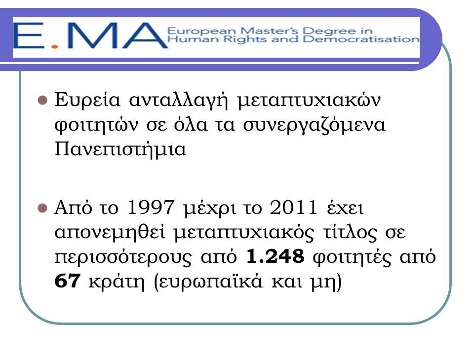 Ευρεία ανταλλαγή μεταπτυχιακών φοιτητών σε όλα τα συνεργαζόμενα Πανεπιστήμια Από το 1997 μέχρι το 2011 έχει απονεμηθεί μεταπτυχιακός τίτλος σε περισσότερους από 1.248 φοιτητές από 67 κράτη (ευρωπαϊκά και μη)