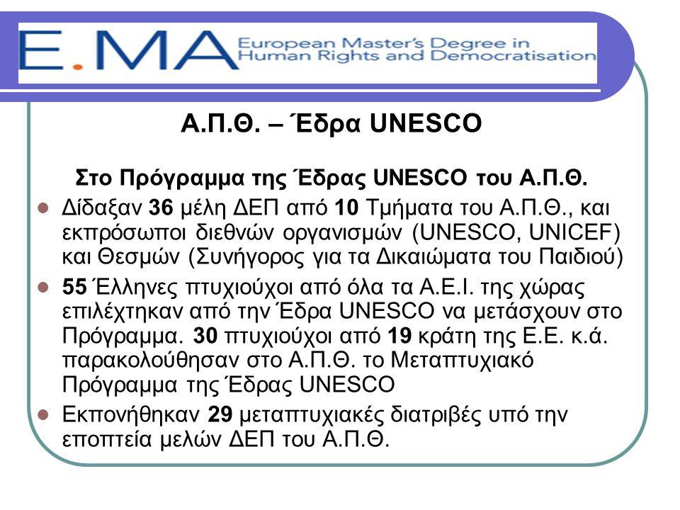Α.Π.Θ. – Έδρα UNESCO Στο Πρόγραμμα της Έδρας UNESCO του Α.Π.Θ.