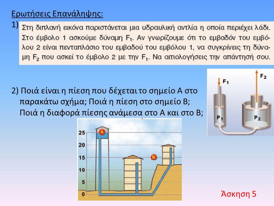Ερωτήσεις Επανάληψης: 1) 2) Ποιά είναι η πίεση που δέχεται το σημείο Α στο παρακάτω σχήμα; Ποιά η πίεση στο σημείο Β; Ποιά η διαφορά πίεσης ανάμεσα στ