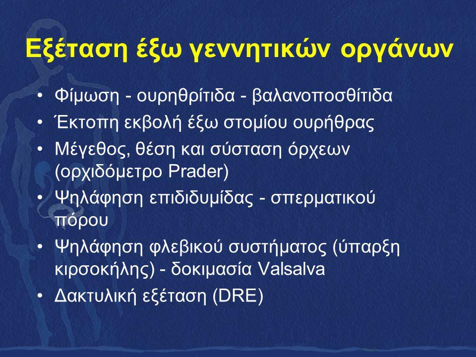 Εξέταση έξω γεννητικών οργάνων Φίμωση - ουρηθρίτιδα - βαλανοποσθίτιδα Έκτοπη εκβολή έξω στομίου ουρήθρας Μέγεθος, θέση και σύσταση όρχεων (ορχιδόμετρο Prader) Ψηλάφηση επιδιδυμίδας - σπερματικού πόρου Ψηλάφηση φλεβικού συστήματος (ύπαρξη κιρσοκήλης) - δοκιμασία Valsalva Δακτυλική εξέταση (DRE)