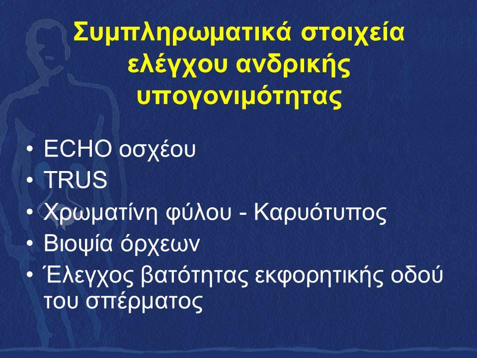 Συμπληρωματικά στοιχεία ελέγχου ανδρικής υπογονιμότητας ECHO οσχέου TRUS Χρωματίνη φύλου - Καρυότυπος Βιοψία όρχεων Έλεγχος βατότητας εκφορητικής οδού του σπέρματος