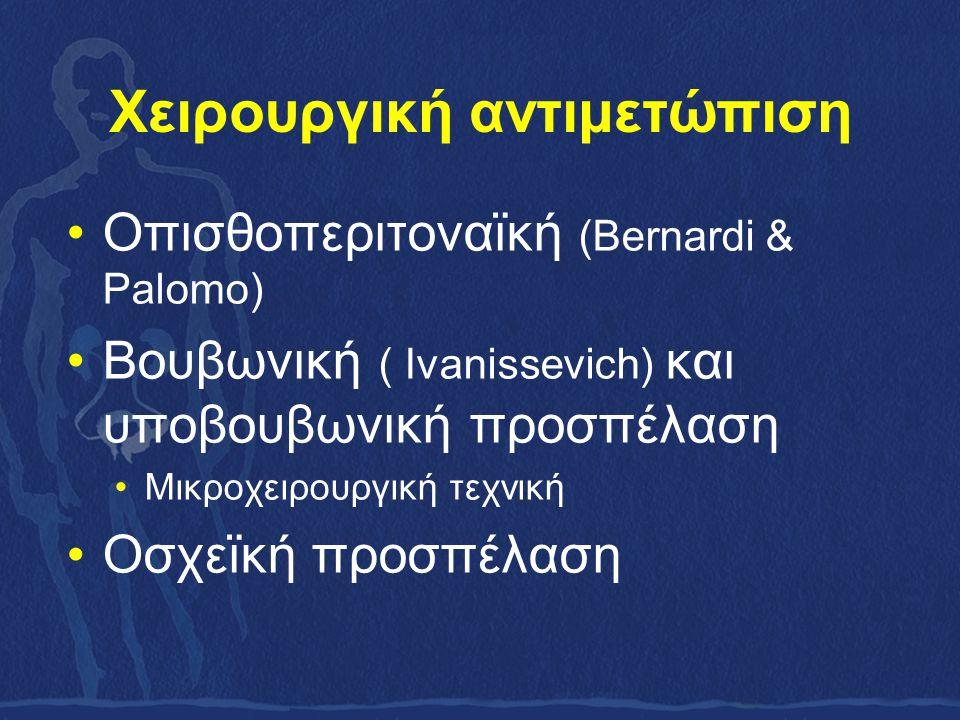 Χειρουργική αντιμετώπιση Οπισθοπεριτοναϊκή (Bernardi & Palomo) Βουβωνική ( Ivanissevich) και υποβουβωνική προσπέλαση Μικροχειρουργική τεχνική Οσχεϊκή προσπέλαση