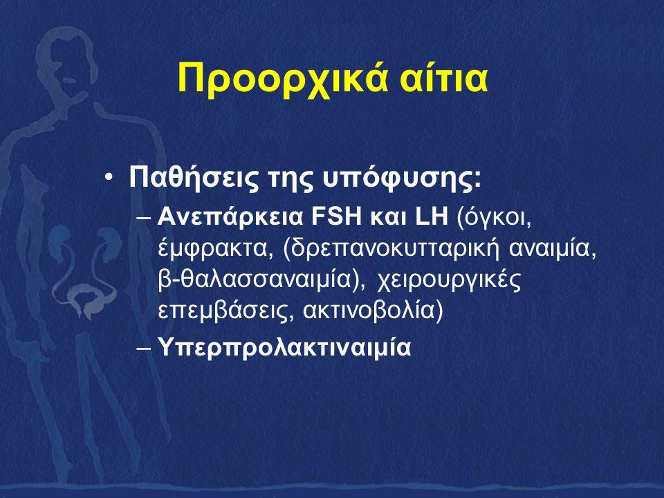 Προορχικά αίτια Παθήσεις της υπόφυσης: –Ανεπάρκεια FSH και LH (όγκοι, έμφρακτα, (δρεπανοκυτταρική αναιμία, β-θαλασσαναιμία), χειρουργικές επεμβάσεις, ακτινοβολία) –Υπερπρολακτιναιμία