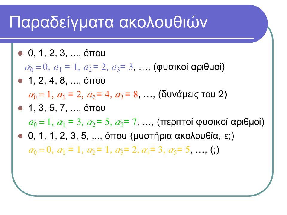 Παραδείγματα ακολουθιών 0, 1, 2, 3,..., όπου a 0 = 0, a 1 = 1, a 2 = 2, a 3 = 3, …, (φυσικοί αριθμοί) 1, 2, 4, 8,..., όπου  a 0 = 1, a 1 = 2, a 2 = 4, a 3 = 8, …, (δυνάμεις του 2) 1, 3, 5, 7,..., όπου  a 0 = 1, a 1 = 3, a 2 = 5, a 3 = 7, …, (περιττοί φυσικοί αριθμοί) 0, 1, 1, 2, 3, 5,..., όπου (μυστήρια ακολουθία, ε;)  a 0 = 0, a 1 = 1, a 2 = 1, a 3 = 2, a 4 = 3, a 5 = 5, …, (;)