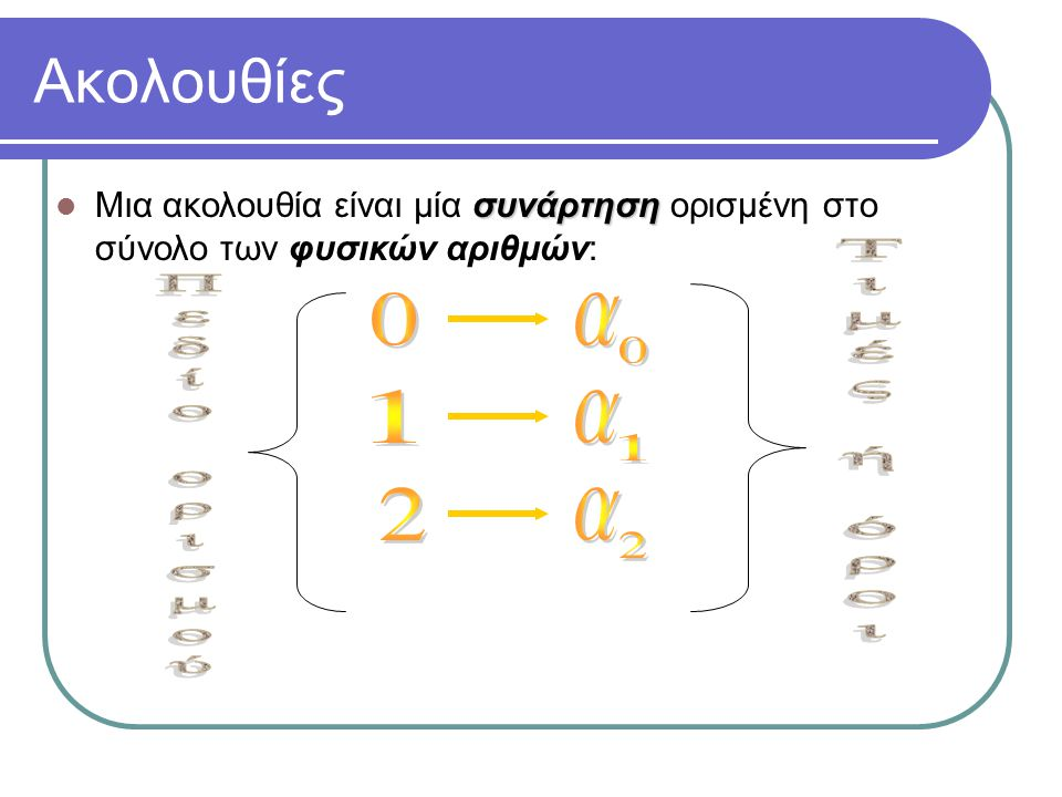Ακολουθίες συνάρτηση Μια ακολουθία είναι μία συνάρτηση ορισμένη στο σύνολο των φυσικών αριθμών: