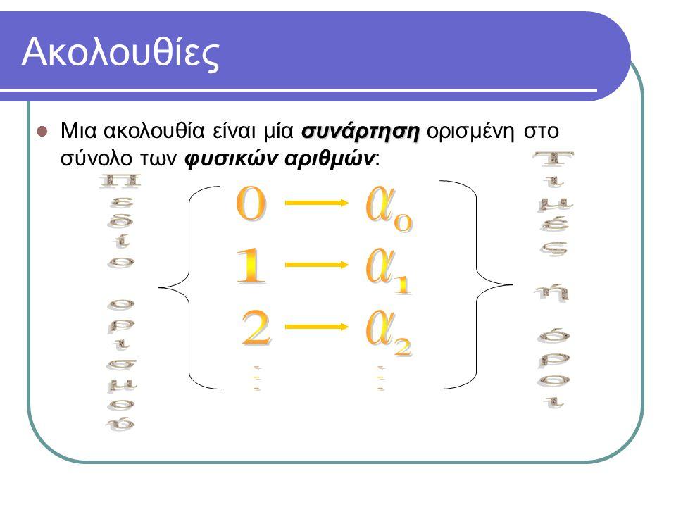 Ακολουθίες συνάρτηση Μια ακολουθία είναι μία συνάρτηση ορισμένη στο σύνολο των φυσικών αριθμών: a 0, a 1, a 2, …,: πραγματικοί αριθμοί