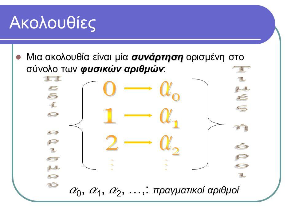 Μια πολύ σημαντική κατηγορία ακολουθιών: γεωμετρικές πρόοδοι Γεωμετρική πρόοδος Γεωμετρική πρόοδος καλείται κάθε ακολουθία a 0, a 1, a 2, …, λόγος της γεωμετρικής προόδου για την οποία ισχύει a 1 = la 0, a 2 = la 1, a 3 = la 2, … για κάποιο πραγματικό αριθμό l που καλείται λόγος της γεωμετρικής προόδου Με άλλα λόγια «επόμενος όρος =  προηγούμενος όρος «επόμενος όρος = l  προηγούμενος όρος ή a n = la n-1