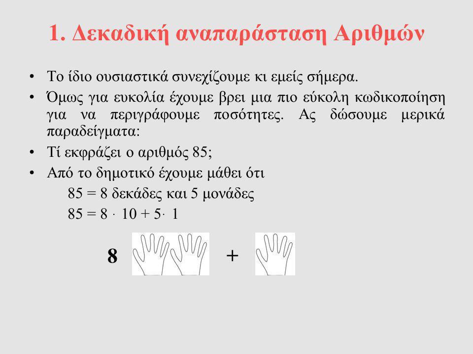 1. Δεκαδική αναπαράσταση Αριθμών Το ίδιο ουσιαστικά συνεχίζουμε κι εμείς σήμερα. Όμως για ευκολία έχουμε βρει μια πιο εύκολη κωδικοποίηση για να περιγ