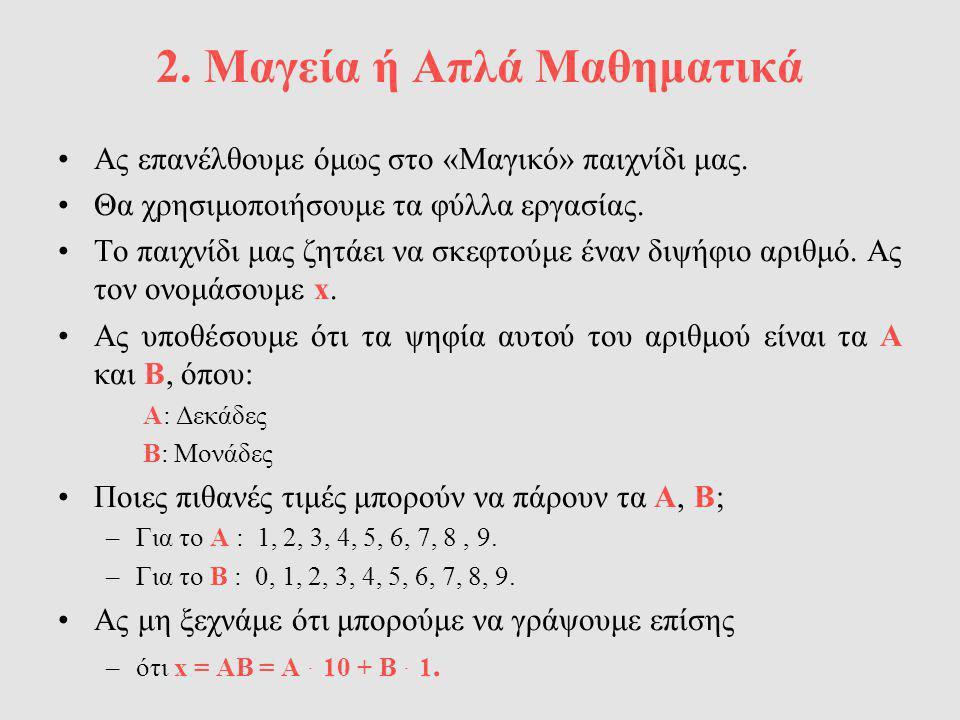 2. Μαγεία ή Απλά Μαθηματικά Ας επανέλθουμε όμως στο «Μαγικό» παιχνίδι μας. Θα χρησιμοποιήσουμε τα φύλλα εργασίας. Το παιχνίδι μας ζητάει να σκεφτούμε