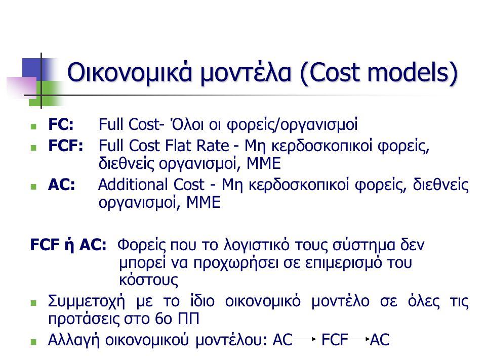 Οικονομικά μοντέλα (Cost models) FC: Full Cost- Όλοι οι φορείς/οργανισμοί FCF: Full Cost Flat Rate - Μη κερδοσκοπικοί φορείς, διεθνείς οργανισμοί, ΜΜΕ AC: Additional Cost - Μη κερδοσκοπικοί φορείς, διεθνείς οργανισμοί, ΜΜΕ FCF ή AC: Φορείς που το λογιστικό τους σύστημα δεν μπορεί να προχωρήσει σε επιμερισμό του κόστους Συμμετοχή με το ίδιο οικονομικό μοντέλο σε όλες τις προτάσεις στο 6ο ΠΠ Αλλαγή οικονομικού μοντέλου: ACFCFAC