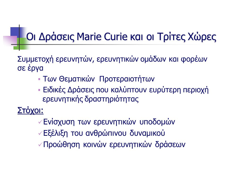 Οι Δράσεις Marie Curie και οι Τρίτες Χώρες Συμμετοχή ερευνητών, ερευνητικών ομάδων και φορέων σε έργα  Των Θεματικών Προτεραιοτήτων  Ειδικές Δράσεις που καλύπτουν ευρύτερη περιοχή ερευνητικής δραστηριότηταςΣτόχοι: Ενίσχυση των ερευνητικών υποδομών Εξέλιξη του ανθρώπινου δυναμικού Προώθηση κοινών ερευνητικών δράσεων