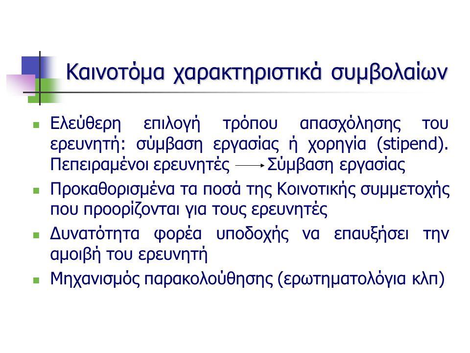 Ελεύθερη επιλογή τρόπου απασχόλησης του ερευνητή: σύμβαση εργασίας ή χορηγία (stipend).