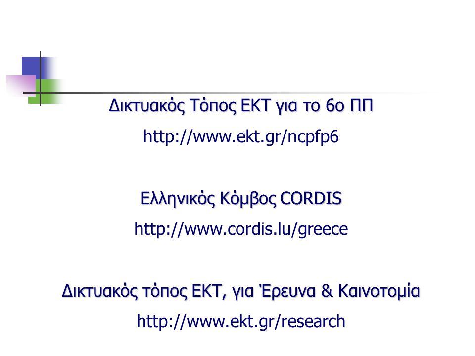 Δικτυακός Τόπος ΕΚΤ για το 6ο ΠΠ http://www.ekt.gr/ncpfp6 Ελληνικός Κόμβος CORDIS http://www.cordis.lu/greece Δικτυακός τόπος ΕΚΤ, για Έρευνα & Καινοτ