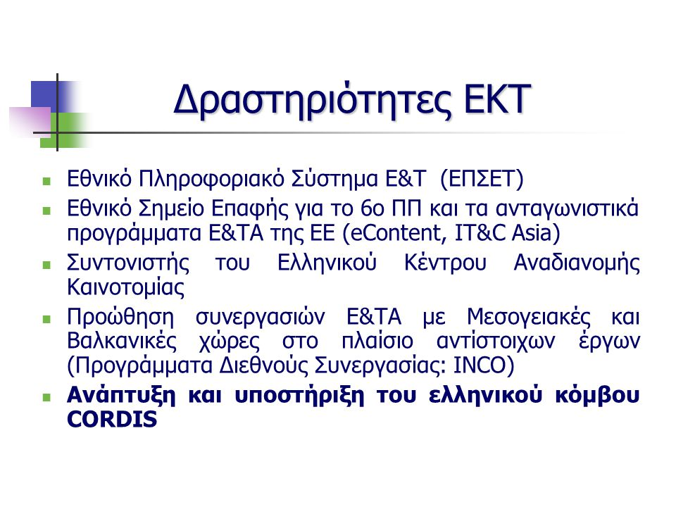 Δραστηριότητες ΕΚΤ Εθνικό Πληροφοριακό Σύστημα Ε&Τ (ΕΠΣΕΤ) Εθνικό Σημείο Επαφής για το 6ο ΠΠ και τα ανταγωνιστικά προγράμματα Ε&ΤΑ της ΕΕ (eContent, IT&C Asia) Συντονιστής του Ελληνικού Κέντρου Αναδιανομής Καινοτομίας Προώθηση συνεργασιών Ε&ΤΑ με Μεσογειακές και Βαλκανικές χώρες στο πλαίσιο αντίστοιχων έργων (Προγράμματα Διεθνούς Συνεργασίας: INCO) Ανάπτυξη και υποστήριξη του ελληνικού κόμβου CORDIS