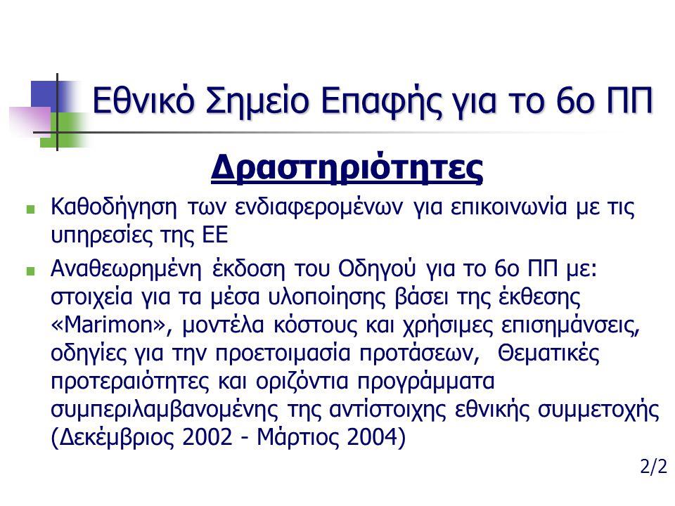 Εθνικό Σημείο Επαφής για το 6ο ΠΠ Δραστηριότητες Καθοδήγηση των ενδιαφερομένων για επικοινωνία με τις υπηρεσίες της ΕΕ Αναθεωρημένη έκδοση του Οδηγού
