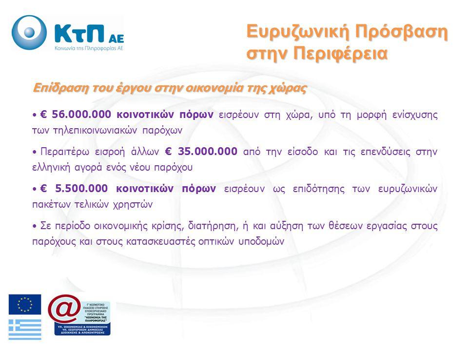 Επίδραση του έργου στην οικονομία της χώρας € 56.000.000 κοινοτικών πόρων εισρέουν στη χώρα, υπό τη μορφή ενίσχυσης των τηλεπικοινωνιακών παρόχων Περαιτέρω εισροή άλλων € 35.000.000 από την είσοδο και τις επενδύσεις στην ελληνική αγορά ενός νέου παρόχου € 5.500.000 κοινοτικών πόρων εισρέουν ως επιδότησης των ευρυζωνικών πακέτων τελικών χρηστών Σε περίοδο οικονομικής κρίσης, διατήρηση, ή και αύξηση των θέσεων εργασίας στους παρόχους και στους κατασκευαστές οπτικών υποδομών Ευρυζωνική Πρόσβαση στην Περιφέρεια