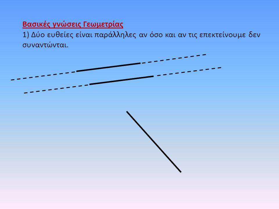 Βασικές γνώσεις Γεωμετρίας 1) Δύο ευθείες είναι παράλληλες αν όσο και αν τις επεκτείνουμε δεν συναντώνται.