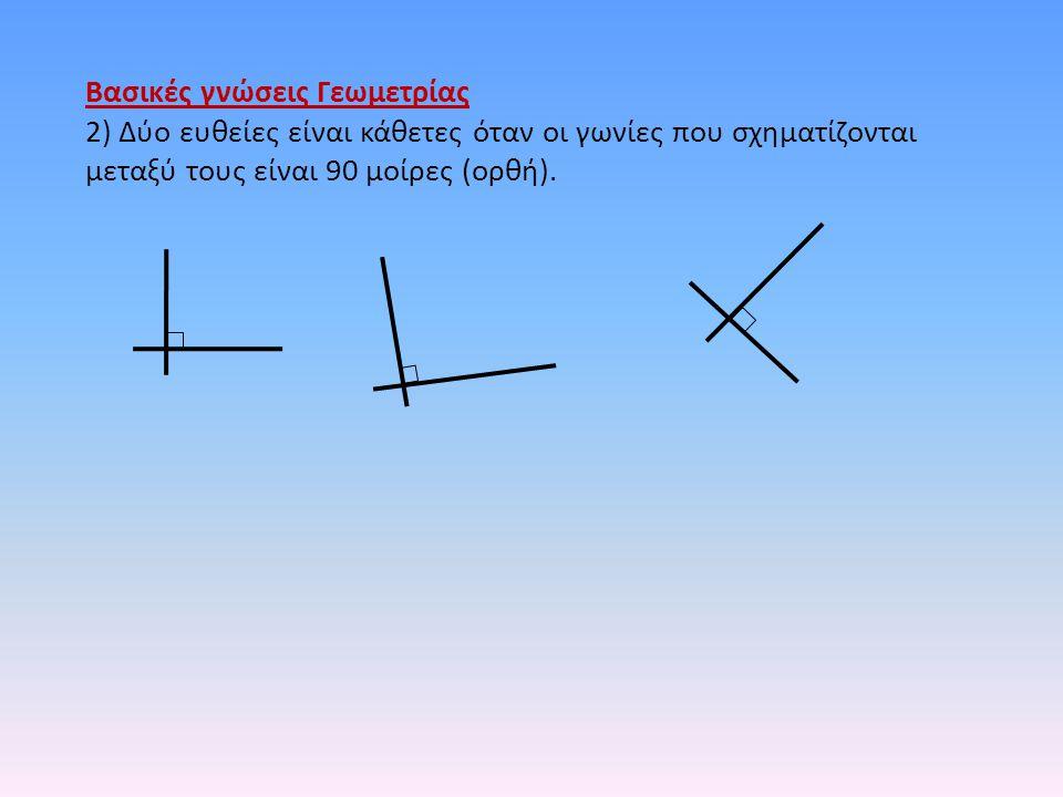 Βασικές γνώσεις Γεωμετρίας 2) Δύο ευθείες είναι κάθετες όταν οι γωνίες που σχηματίζονται μεταξύ τους είναι 90 μοίρες (ορθή).