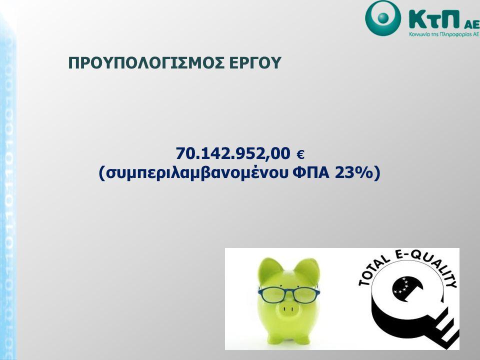 70.142.952,00 € (συμπεριλαμβανομένου ΦΠΑ 23%) ΠΡΟΥΠΟΛΟΓΙΣΜΟΣ ΕΡΓΟΥ
