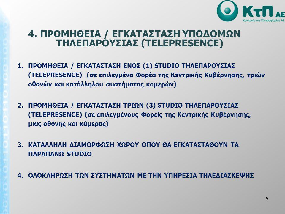 9 4. ΠΡΟΜΗΘΕΙΑ / ΕΓΚΑΤΑΣΤΑΣΗ ΥΠΟΔΟΜΩΝ ΤΗΛΕΠΑΡΟΥΣΙΑΣ (TELEPRESENCE) 1.ΠΡΟΜΗΘΕΙΑ / ΕΓΚΑΤΑΣΤΑΣΗ ΕΝOΣ (1) STUDIO ΤΗΛΕΠΑΡΟΥΣΙΑΣ (TELEPRESENCE) (σε επιλεγμέ