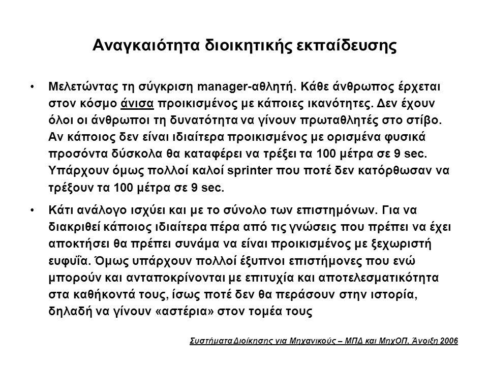 Συστήματα Διοίκησης για Μηχανικούς – ΜΠΔ και ΜηχΟΠ, Άνοιξη 2006 Αναγκαιότητα διοικητικής εκπαίδευσης Μελετώντας τη σύγκριση manager-αθλητή. Κάθε άνθρω