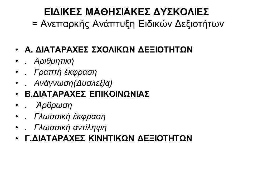 Παραδείγματα Ψυχογλωσσικών Ικανοτήτων Αισθησιοκινητική ολοκλήρωση: ισορροπία /απτικός διαχωρισμός/ κατανόηση διεύθυνσης - κατεύθυνσης/ αριστερή ή δεξιά κυριαρχία/ ρυθμός/ ταχύτητα αντίδρασης/ επιδεξιότητα/ χρονικός προσανατολισμός.