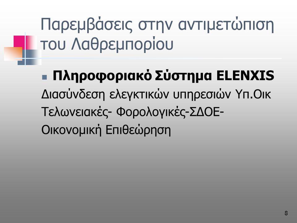 8 Παρεμβάσεις στην αντιμετώπιση του Λαθρεμπορίου Πληροφοριακό Σύστημα ELENXIS Διασύνδεση ελεγκτικών υπηρεσιών Υπ.Οικ Τελωνειακές- Φορολογικές-ΣΔΟΕ- Οικονομική Επιθεώρηση