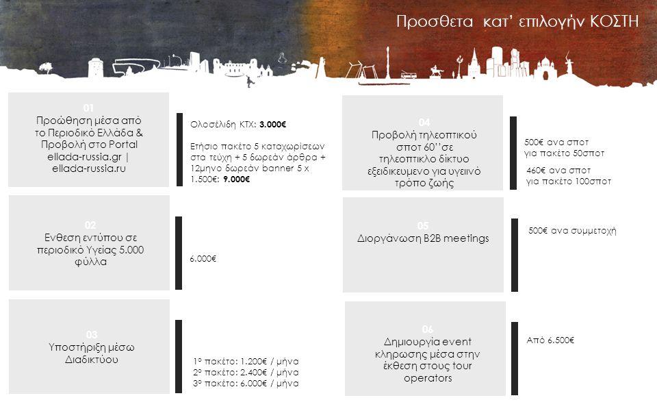 Προσθετα κατ' επιλογήν ΚΟΣΤΗ 01 Προώθηση μέσα από το Περιοδικό Ελλάδα & Προβολή στο Portal ellada-russia.gr | ellada-russia.ru Ολοσέλιδη ΚΤΧ: 3.000€ Ετήσιο πακέτο 5 καταχωρίσεων στα τεύχη + 5 δωρεάν άρθρα + 12μηνο δωρεάν banner 5 x 1.500€: 9.000€ 02 Ενθεση εντύπου σε περιοδικό Υγείας 5.000 φύλλα 6.000€ 03 Υποστήριξη μέσω Διαδικτύου 1 ο πακέτο: 1.200€ / μήνα 2 ο πακέτο: 2.400€ / μήνα 3 ο πακέτο: 6.000€ / μήνα 04 Προβολή τηλεοπτικού σποτ 60''σε τηλεοπτικλο δίκτυο εξειδικευμενο για υγειινό τρόπο ζωής 500€ ανα σποτ για πακέτο 50σποτ 05 Διοργάνωση Β2Β meetings 500€ ανα συμμετοχή 06 Δημιουργία event κληρωσης μέσα στην έκθεση στους tour operators Από 6.500€ 460€ ανα σποτ για πακέτο 100σποτ