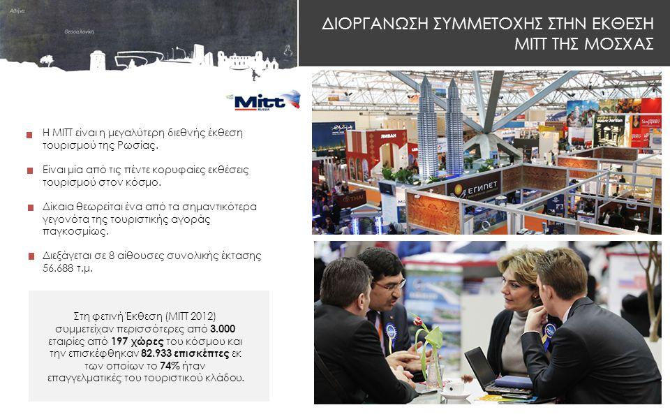 ΔΙΟΡΓΑΝΩΣΗ ΣΥΜΜΕΤΟΧΗΣ ΣΤΗΝ ΕΚΘΕΣΗ MITT ΤΗΣ ΜΟΣΧΑΣ H ΜΙΤΤ είναι η μεγαλύτερη διεθνής έκθεση τουρισμού της Ρωσίας.