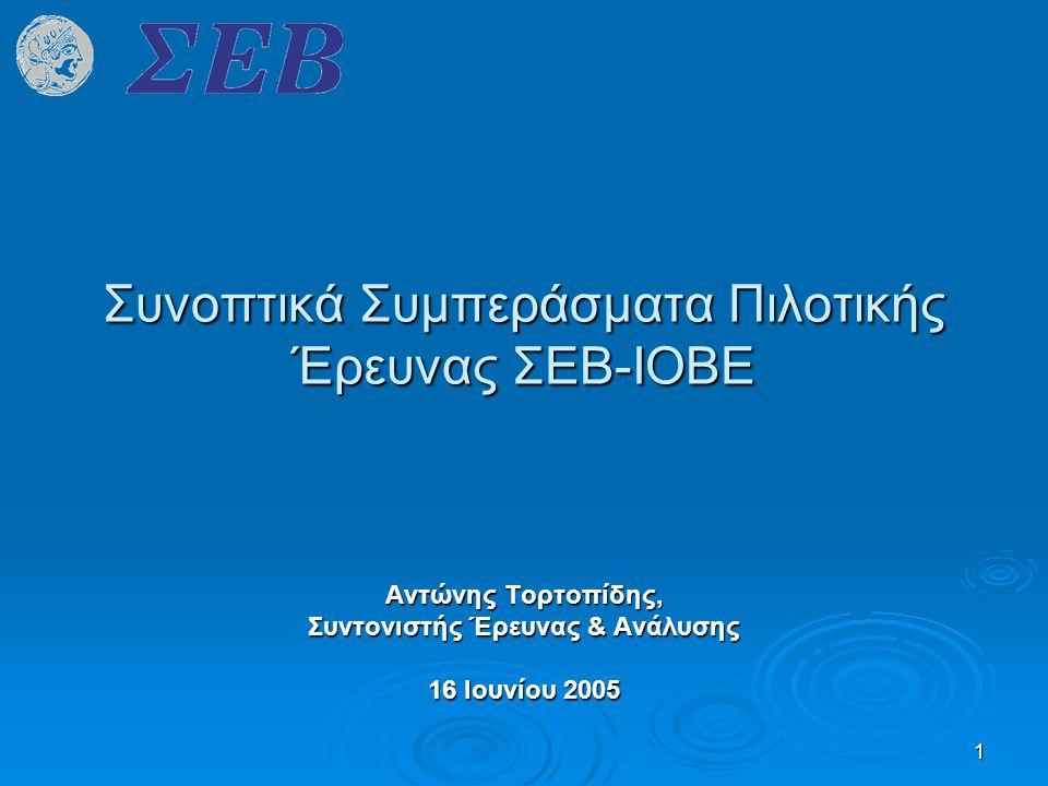 1 Συνοπτικά Συμπεράσματα Πιλοτικής Έρευνας ΣΕΒ-ΙΟΒΕ Αντώνης Τορτοπίδης, Συντονιστής Έρευνας & Ανάλυσης 16 Ιουνίου 2005