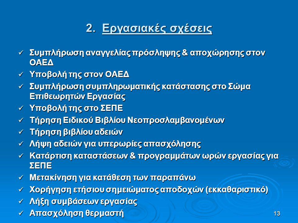 13 2. Εργασιακές σχέσεις Συμπλήρωση αναγγελίας πρόσληψης & αποχώρησης στον ΟΑΕΔ Συμπλήρωση αναγγελίας πρόσληψης & αποχώρησης στον ΟΑΕΔ Υποβολή της στο