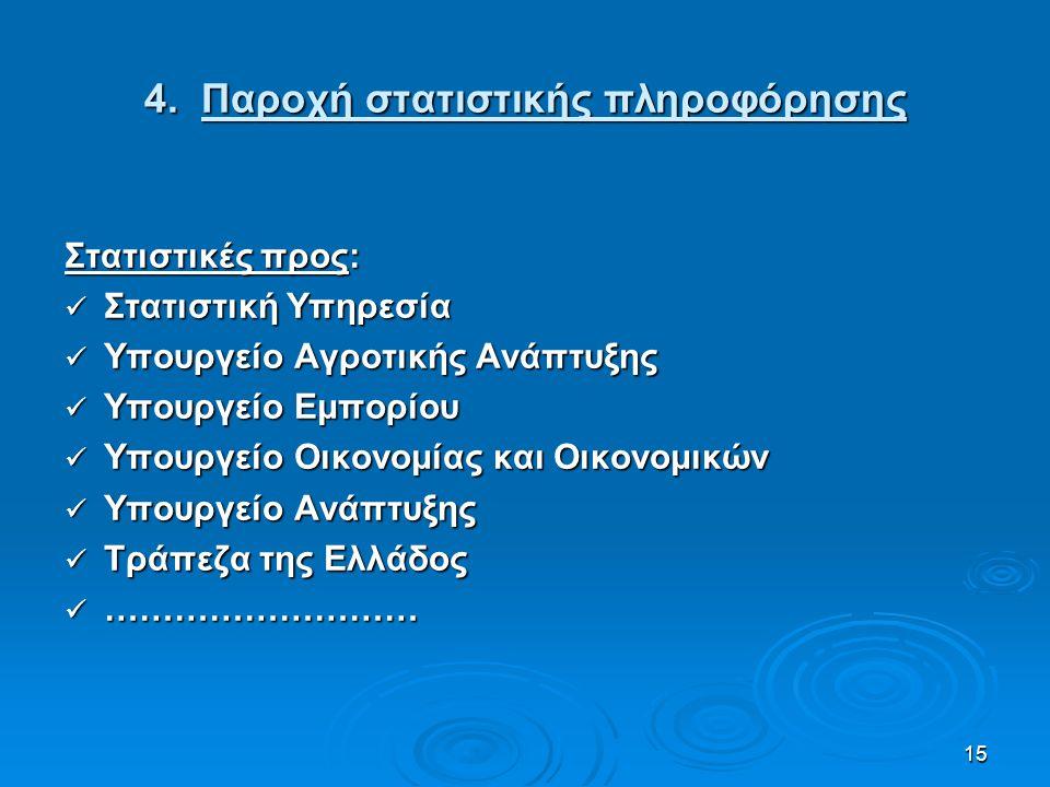 15 4. Παροχή στατιστικής πληροφόρησης Στατιστικές προς: Στατιστική Υπηρεσία Στατιστική Υπηρεσία Υπουργείο Αγροτικής Ανάπτυξης Υπουργείο Αγροτικής Ανάπ