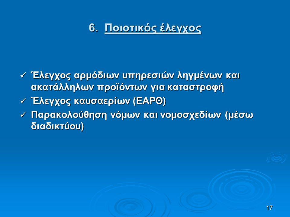 17 6. Ποιοτικός έλεγχος Έλεγχος αρμόδιων υπηρεσιών ληγμένων και ακατάλληλων προϊόντων για καταστροφή Έλεγχος αρμόδιων υπηρεσιών ληγμένων και ακατάλληλ
