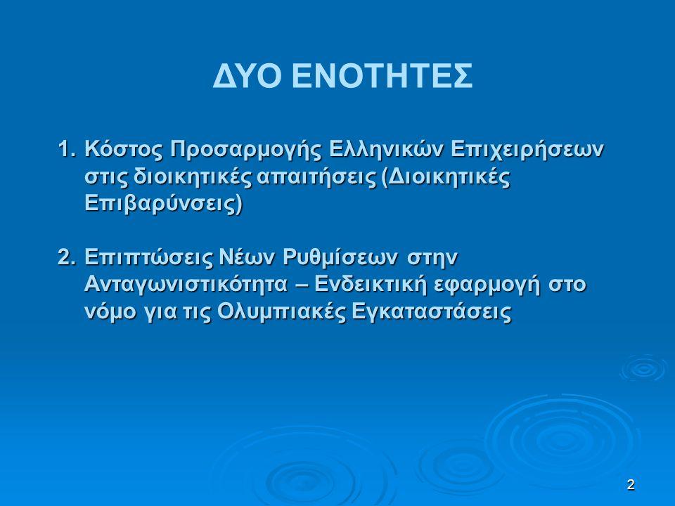 2 1.Κόστος Προσαρμογής Ελληνικών Επιχειρήσεων στις διοικητικές απαιτήσεις (Διοικητικές Επιβαρύνσεις) 2.Επιπτώσεις Νέων Ρυθμίσεων στην Ανταγωνιστικότητ