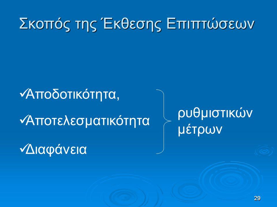 29 Σκοπός της Έκθεσης Επιπτώσεων Αποδοτικότητα, Αποτελεσματικότητα Διαφάνεια ρυθμιστικών μέτρων