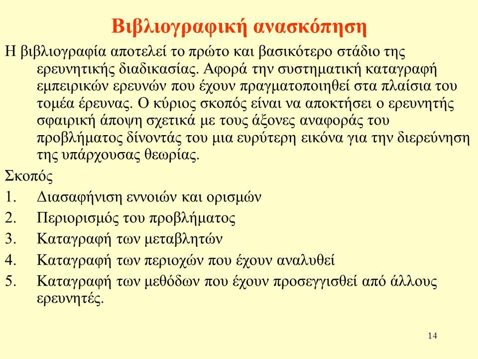 14 Βιβλιογραφική ανασκόπηση Η βιβλιογραφία αποτελεί το πρώτο και βασικότερο στάδιο της ερευνητικής διαδικασίας. Αφορά την συστηματική καταγραφή εμπειρ