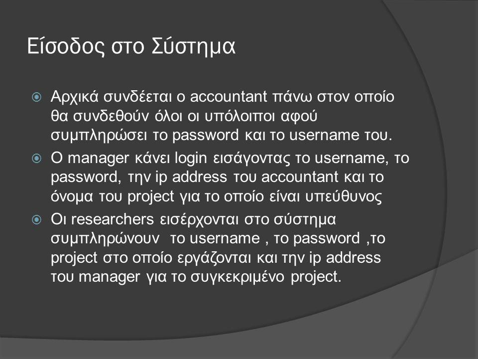 Είσοδος στο Σύστημα  Αρχικά συνδέεται ο accountant πάνω στον οποίο θα συνδεθούν όλοι οι υπόλοιποι αφού συμπληρώσει το password και το username του.
